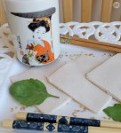 Gluten-Free Egg Roll Wrappers on a plate with a Japanese tea cup