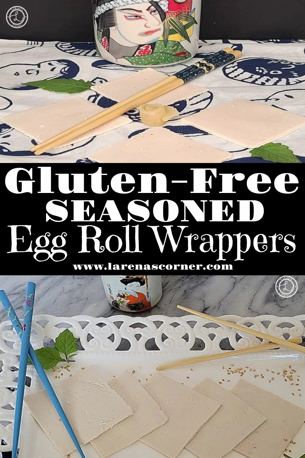 Gluten-Free Egg Roll Wrappers in two different pictures