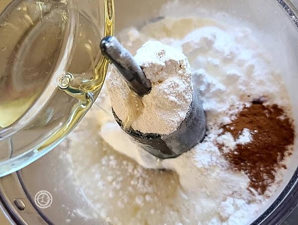 Blending the cheesecake batter for the Cinnamon Apple Caramel Cheesecake