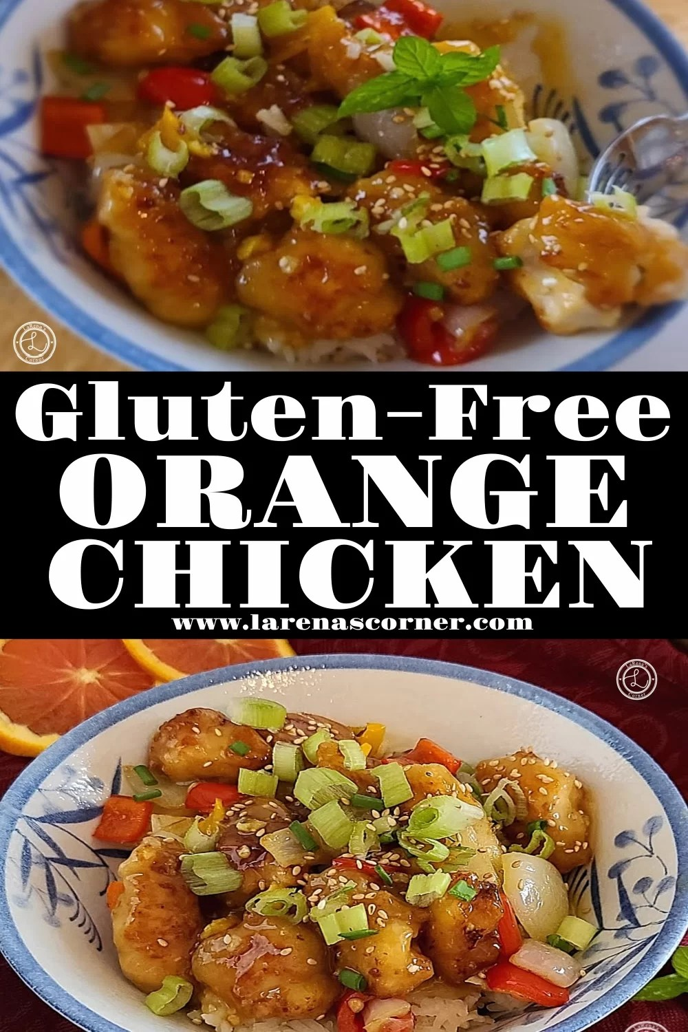 Two pictures of the gluten-free orange chicken