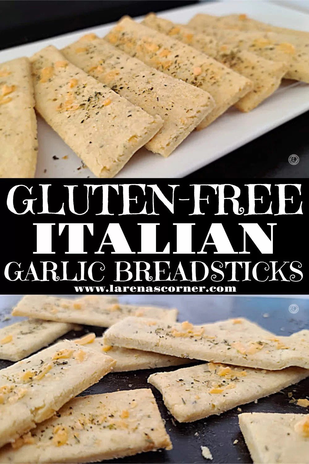 Two pictures of Gluten-Free Italian Garlic Breadsticks. One picture of them on the baking stone and one of them on a serving platter.