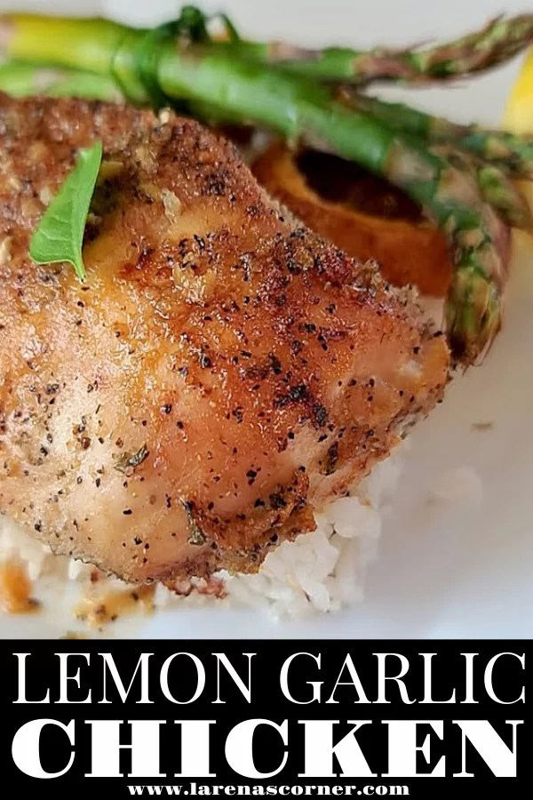 Lemon Garlic Chicken with rice, and asparagus