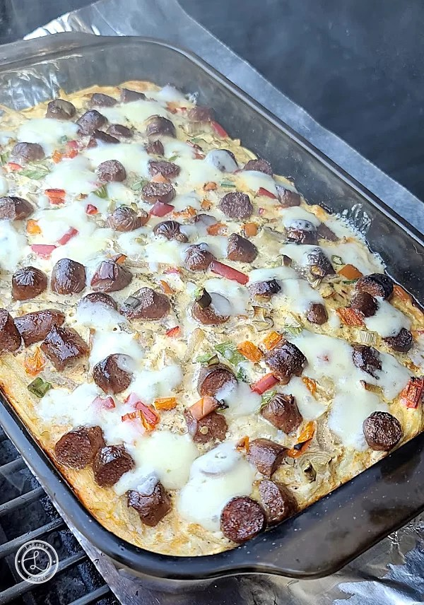 Cooked Grilled Maple Sausage Casserole with melted cheese