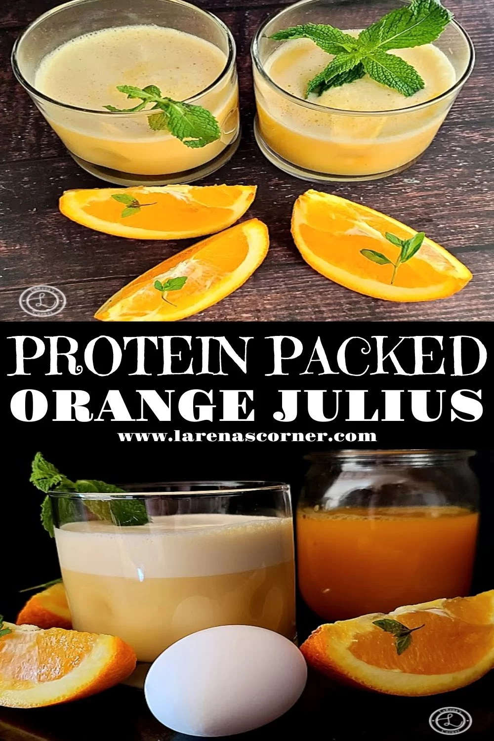 Two separate pictures of Protein Packed Orange Julius