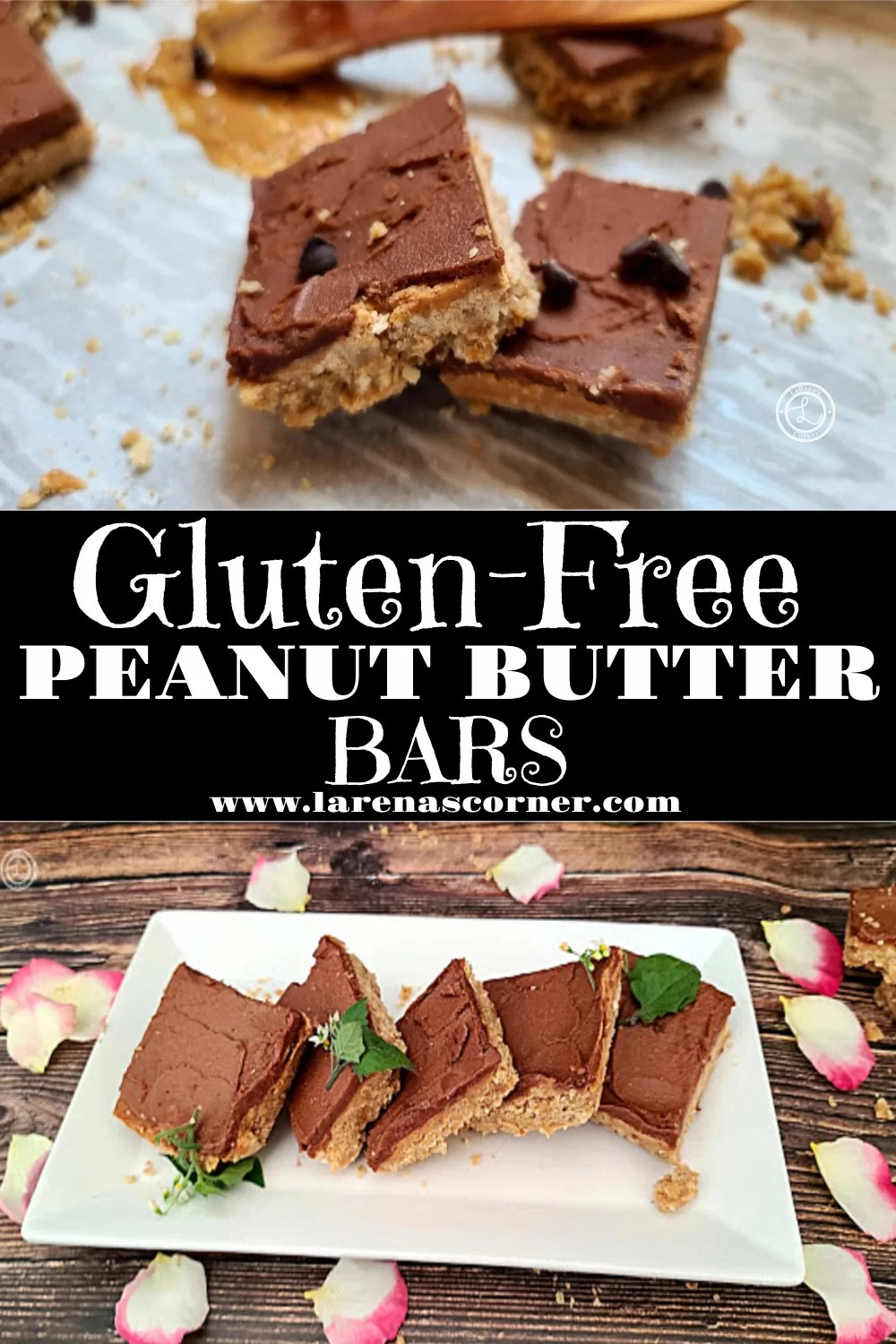 Two pictures of Gluten-Free Peanut Butter Bars one picture of them on parchment paper with peanut butter in the background and one picture of them on a plate.