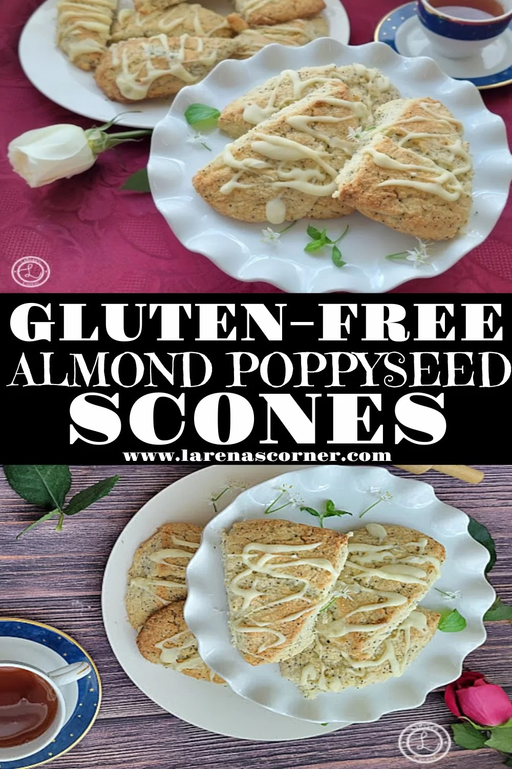 Gluten-Free Almond Poppyseed Scones Collage. Two Different pictures of scones on platters.