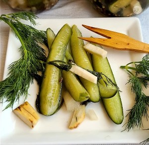 A plate of Classic Horseradish Dill Pickles