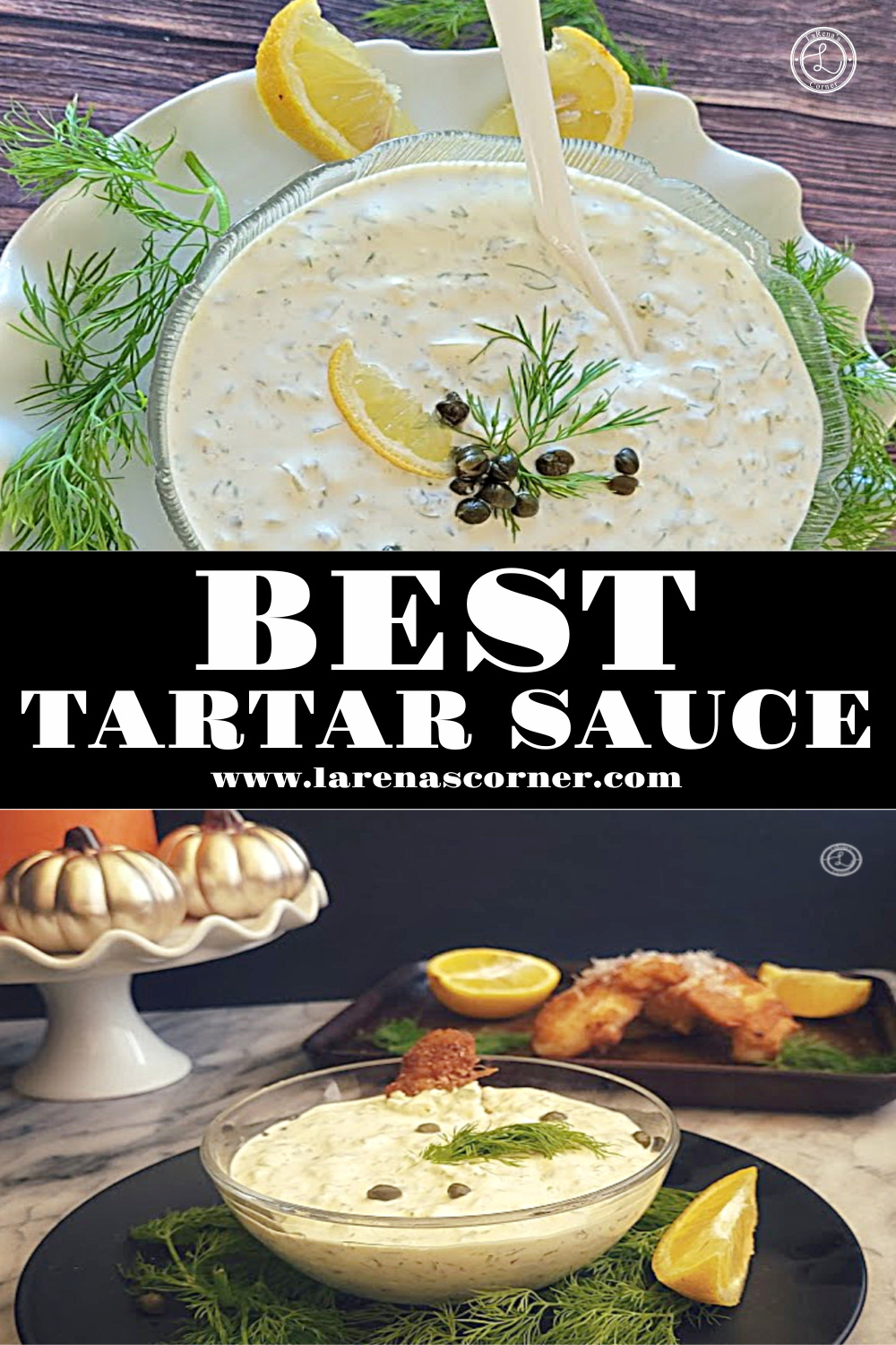 Best Tartar Sauce. Two pictures. One close up and one a little farther away with gluten beer fried fish.