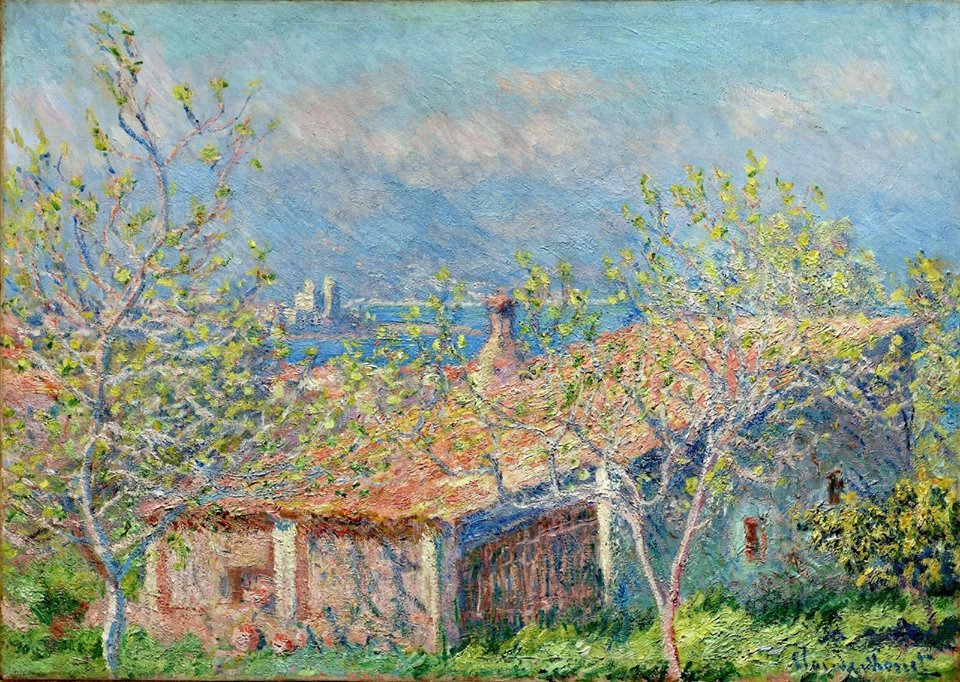 Claude Monet (French, Impressionism, 1840-1926)- Gardener's House at Antibes, 1888. Oil on fabric, unframed- 26-1:16 x 36-9:16 inches. The Cleveland Museum of Art, Cleveland, Ohio, USA.