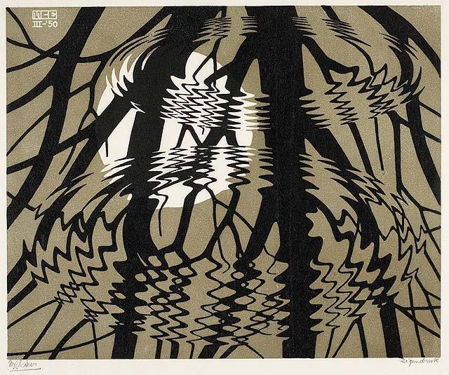 m-c-escher-dutch-1898-1972-rippled-surface-march-1950-linocut-in-black-and-grey-brown-on-japan-paper-33-6-x-40-1-cm-image-26-x-32-cm-national-gallery-of-canada-ottawa-ontario-canada