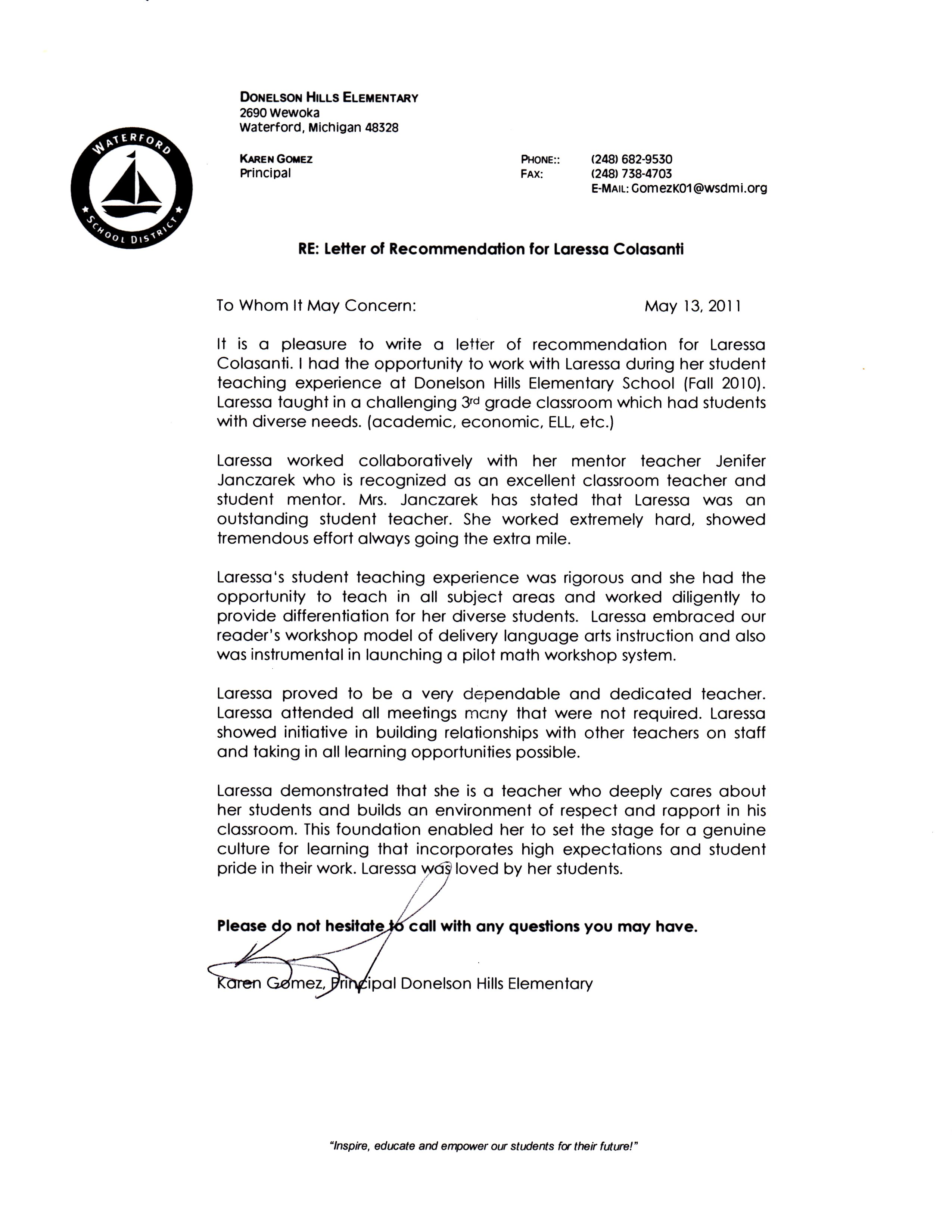 recommendation letter for elementary students