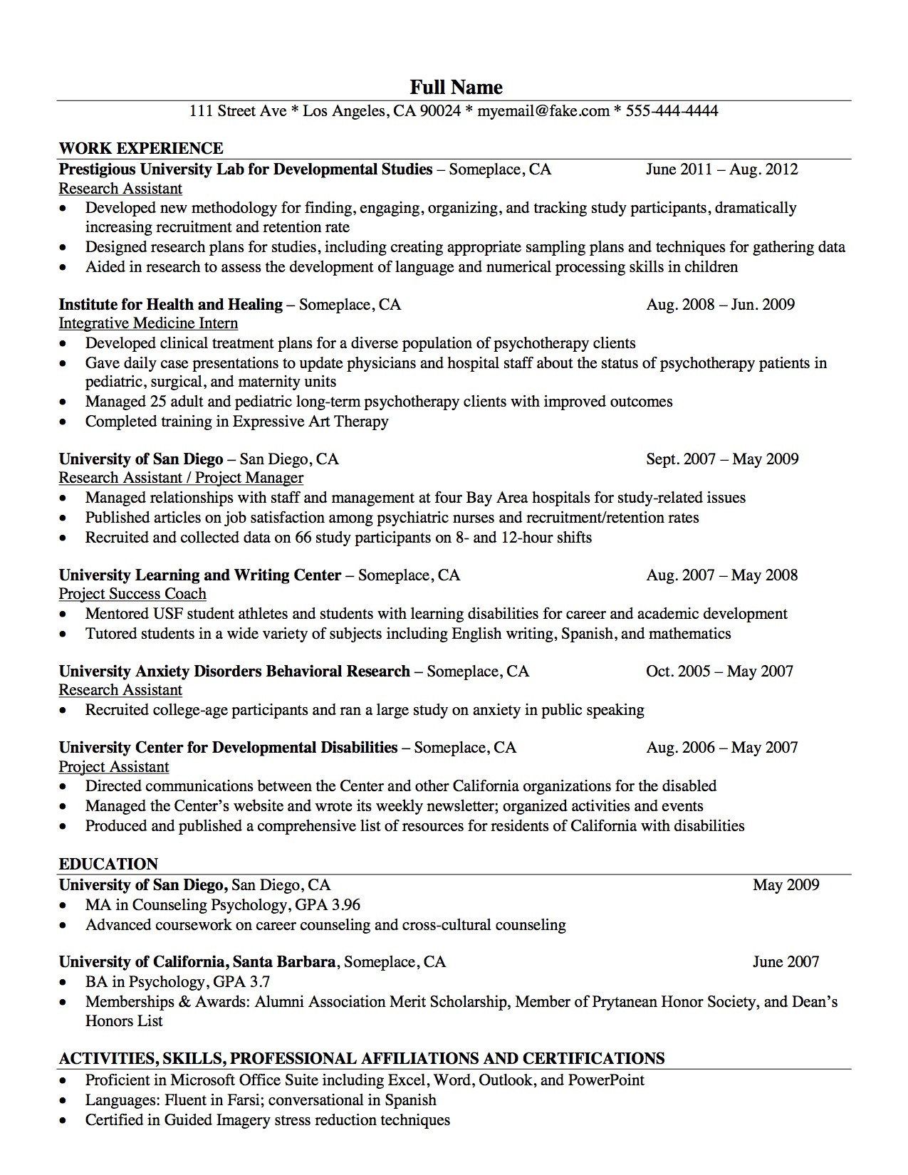 Curriculum Vitae Psychology Resume Example For Psychologist