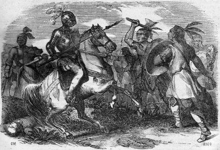 20-Combat entre Espagnols et Mapuches (Source-Wikimédia Commons)