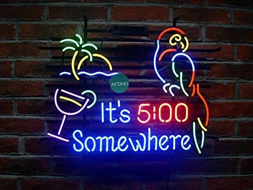 Its 5 oclock Somewhere Parrot Real Glass Neon Sign Beer Bar Light Larger 24x20  Large Bird