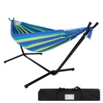 Details About Double Hammock Bed With Steel Stand Camping Bed Garden Outdoor Swing Chair W Bag