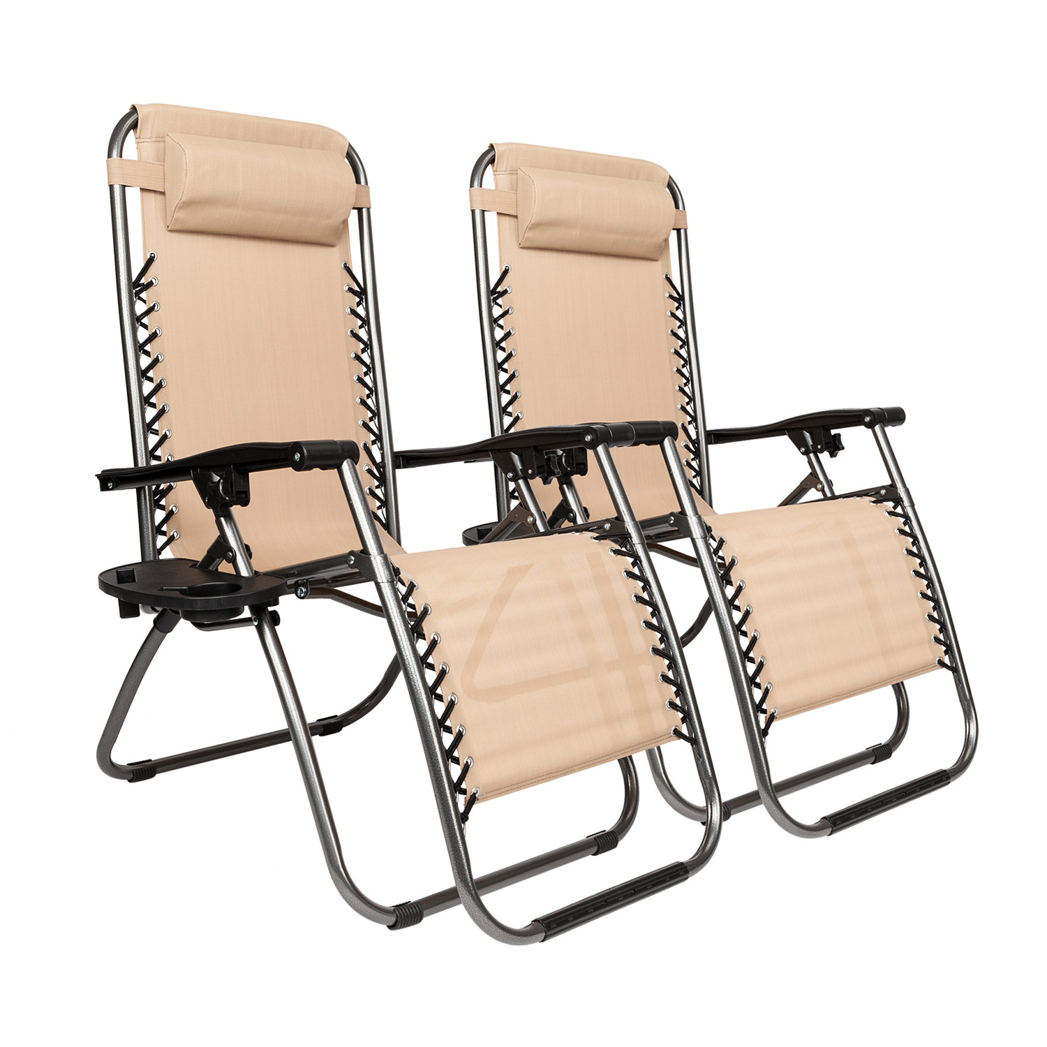 Patio Folding Chairs Details About 2pc Folding Zero Gravity Reclining Lounge Chairs Outdoor Beach Patio Yard Khaki