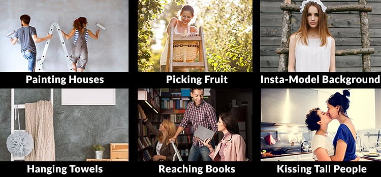 A diagram of the uses for small ladders including painting houses, picking fruit, becoming an insta-model, hanging towels, reaching books and kissing tall people.