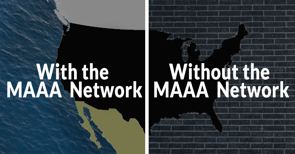 United States map showing the Make America Accessible Again Network allows free passage. Without leads to being surrounded by bricks.