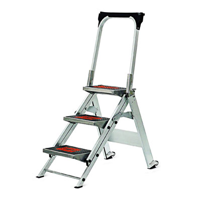 Little Giant foldable step ladder. The product image shows a non-slip grip and a lightweight aluminum frame.