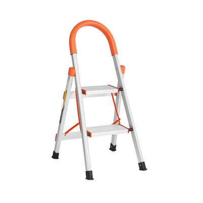 Aluminum step ladder that has an orange top. The small step ladder image shows the ridges on the steps for a non-slip design.