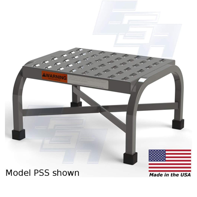 Industrial grade step stool with perforated steps.