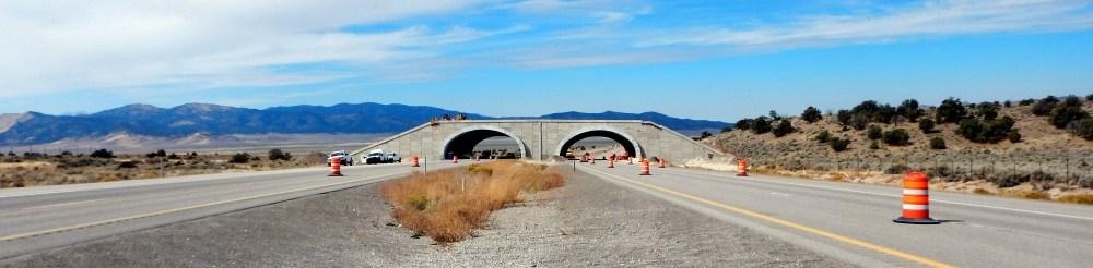 Wildlife bridge being constructed over Interstate 80 in Elko County, Nevada.