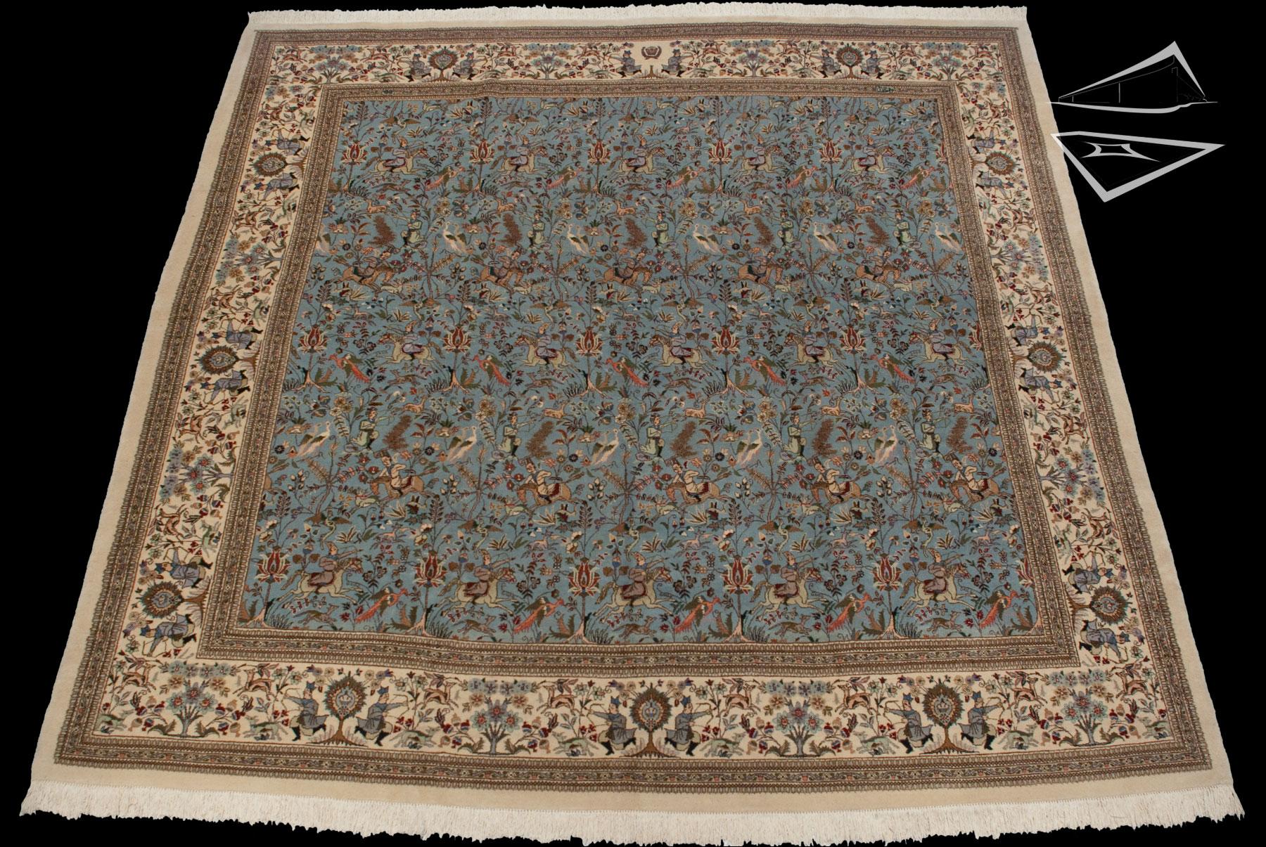 Square Persian Cyrus Crown Tabriz Rug 12 x 12