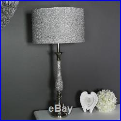 large table lamps for living room best paint colors 2016 polished silver nickel diamante lamp glitter shade light
