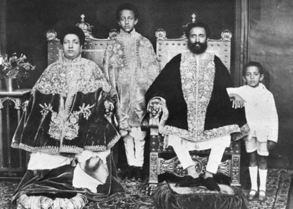 Emperor Haile Selasse I and Empress Menen with their children at the time of their coronation