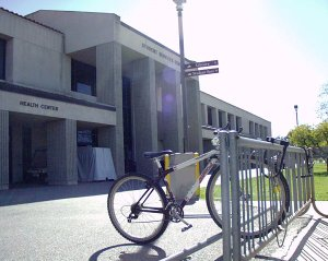 A lone bicycle in the rack outside the SSC building (Tim White)