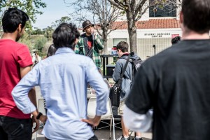 Photo by: Matt Corkill Students gathered in the SSC Quad for a rap battle (and free pizza) on Tuesday.