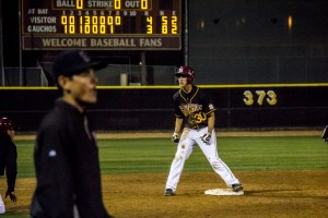 Photo by: Matt Corkill Sophomore Louie Payetta charges up the Saddleback dugout after his triple in the Gaucho victory against the Fullerton Hornets, 5-4, at Doug Fritz field Tuesday night.