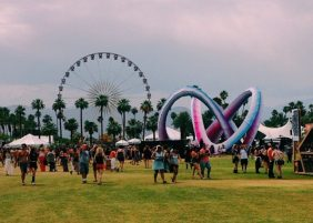Overview of the art installation and ferris wheel on the Empire Polo Fields.
