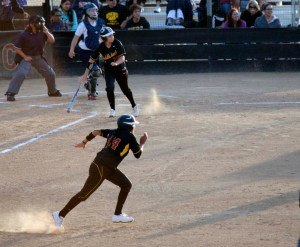 Freshman outfielder Jessica Angulo runs home, helping the Saddleback College Gaucho's take a 5-4 win against the Orange Coast College Pirates at Trani Field on Wednesday night. (Lindsey Goetsch)