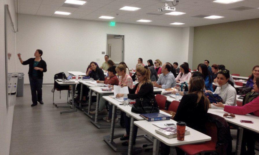 Chin Lam teaches the ESL intermediate multi-skills class at Saddleback College. (Lam Tran)