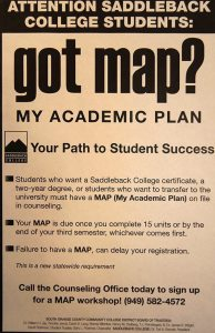 "MAP poster. Reminds students to have their classes all planned out. ""Failure to have one, can delay your registration,"" reads at the end. (photo/Marivel Guzman)"