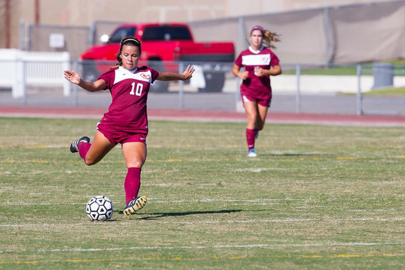 Captain, midfielder, Krista Flores scores (Zachary Epstein/Lariat)