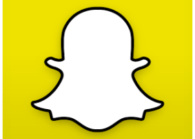 Snapchat: The logo of a ghost is used for all Snapchat application users. The application enables it's users to send a picture for a chosen amount of time. (Source by Wikimedia Commons Snapchat Logo)