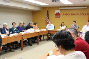 Members of Saddleback College's Academic Senate in Wednesday's meeting discussed various matters that affect the college. (Photographer/Anibal Santos)