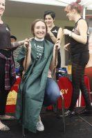 One Saddleback College student chops off her braids for the St. Baldrick's Foundation. Elizabeth Ortiz/ Lariat.