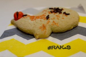 Sharon participated in Random Acts of Kindness at Saddleback, #RAKaS, by bringing homemade sugar cookies shaped as turkeys to the Veterans Center. (photograph/Hannah Tavares).