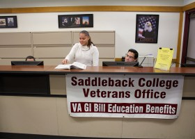 Student veterans Karen Miranda looks through the Saddleback College catalog. (Photo by Niko LaBarbera)