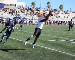Freshman wide receiver Nathan Rodgers attempts to catch a pass on Saddleback's game-winning drive Saturday. Rodgers did not come up the catch. (Ben Mullen/Contributer)