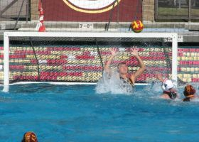 Goalie Emily Christiansen prepares to intercept a shot from the Riverside Tigers. (Saddleback Sports Information)