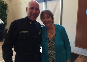 Barbara Penland poses for a photo with Chief Jack Thomas of the City of Orange. (courtesy B. Penland)