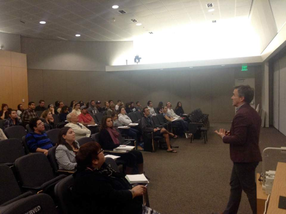 Dr. Beollstorff lectures saddleback students about varied cultures views on border, gay acceptance in Indonesia and virtual world psychology. (Kurtis Rattay/Contributor)