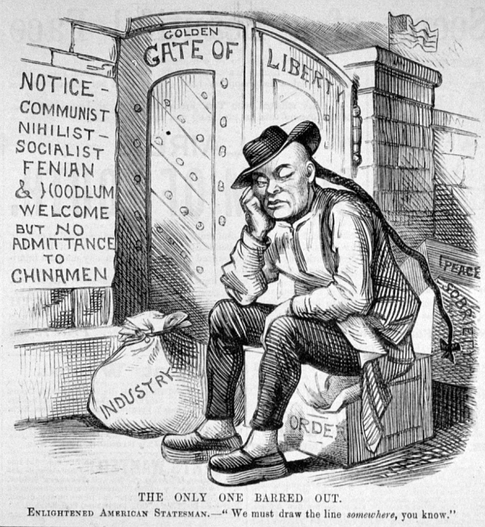 """A political cartoon from 1882, showing a Chinese man being barred entry to the """"Golden Gate of Liberty"""". The caption reads, """"We must draw the line somewhere, you know."""" (Frank Leslie's illustrated newspaper, vol. 54 (1882 April 1), p. 96   Public domain, Library of Congress)"""
