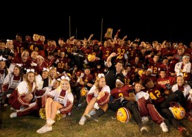 The Gauchos and some cheerleaders celebrated beating Long Beach City College, 43-17. With the win, the Gauchos move on to the state championship game in San Francisco against City College of San Francisco. (Cliff Robbins)