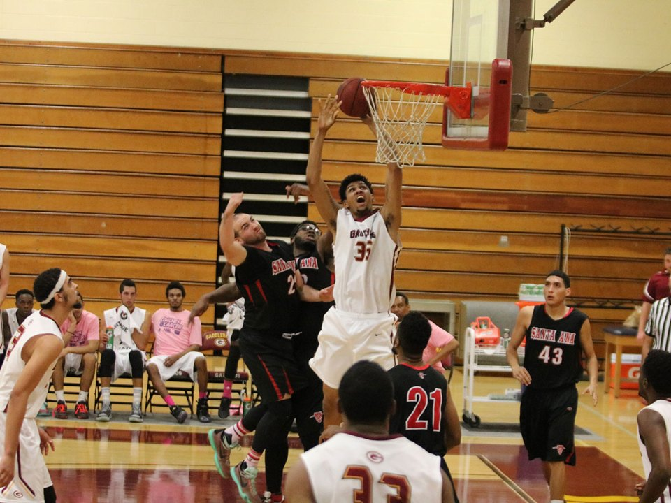 Daniel Young (35) soaring to the rim in a blowout win at home against Santa Ana (Lariat/Jacob Tatham)