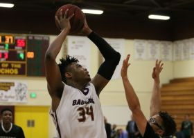 Gauchos forward Breaon Brady (No. 34) shoots over a block attempt against East Los Angeles College earlier in the CCCAA playoffs. Saddleback played a tough schedule in the playoffs and could not defend their state title, losing to City College of San Francisco, 68-57. (Nick Nenad)